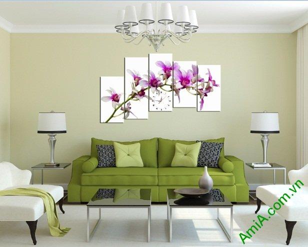 Tranh hoa lan tím treo phòng khách đẹp Amia 391-03