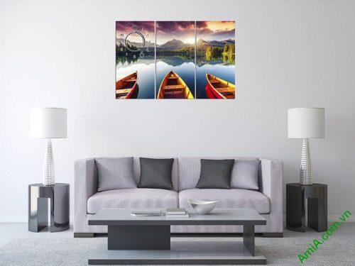 Tranh phong cảnh bến đò trang trí phòng khách amia 375-01