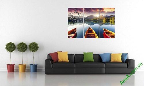 Tranh phong cảnh bến đò trang trí phòng khách amia 375-02