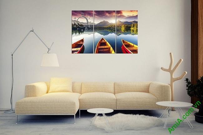 Tranh phong cảnh bến đò trang trí phòng khách amia 375-03