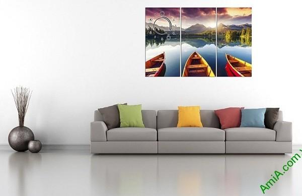 Tranh phong cảnh bến đò trang trí phòng khách amia 375-04