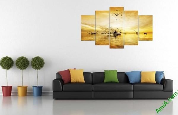 Tranh phong cảnh cất vó buổi bình minh trang trí phòng khách-01