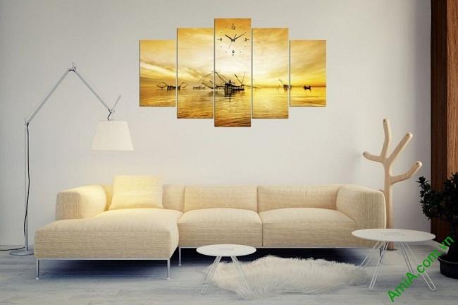 Tranh phong cảnh cất vó buổi bình minh trang trí phòng khách-03