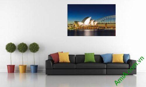 Tranh phong cảnh phòng khách cầu cảng Sydney Amia 355-01