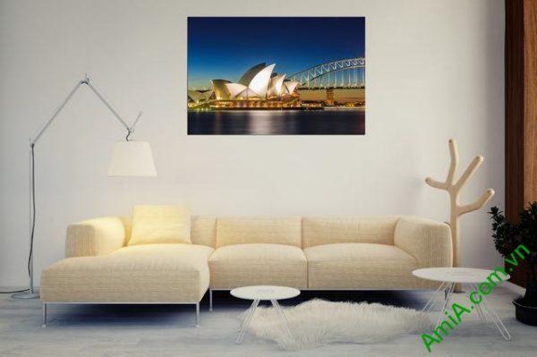 Tranh phong cảnh phòng khách cầu cảng Sydney Amia 355-02