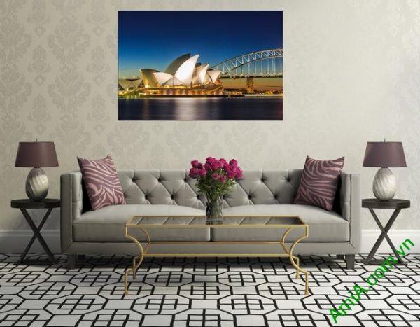 Tranh phong cảnh phòng khách cầu cảng Sydney amia 355-03
