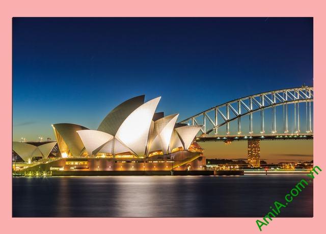 Tranh phong cảnh phòng khách cầu cảng Sydney Amia 355