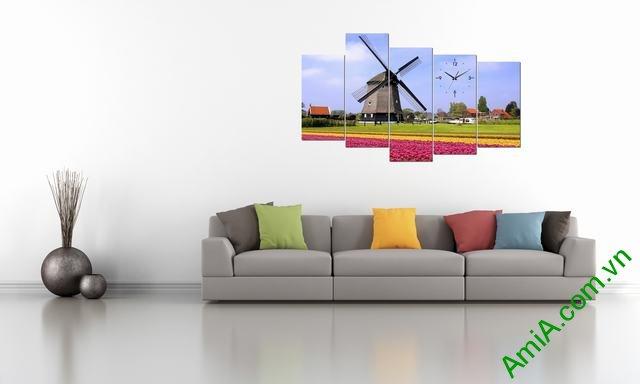 Tranh phong cảnh phòng khách đồng hoa cối xay gió Amia 336-02