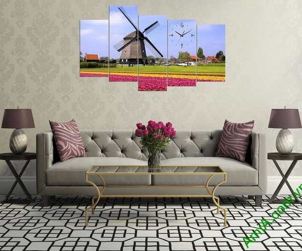 Tranh phong cảnh phòng khách đồng hoa cối xay gió Amia 336-04