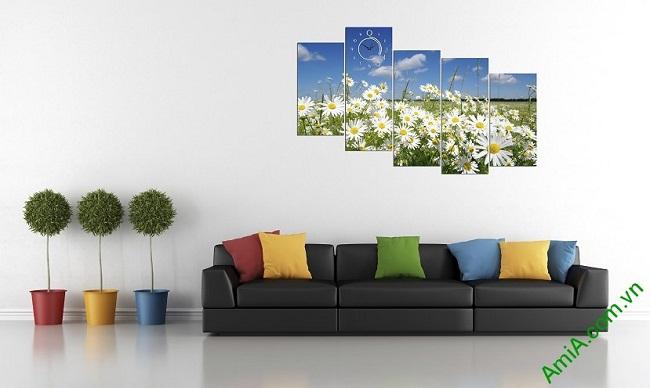 Tranh phong cảnh phòng khách hiện đại đồng cúc họa mi amia 381-02