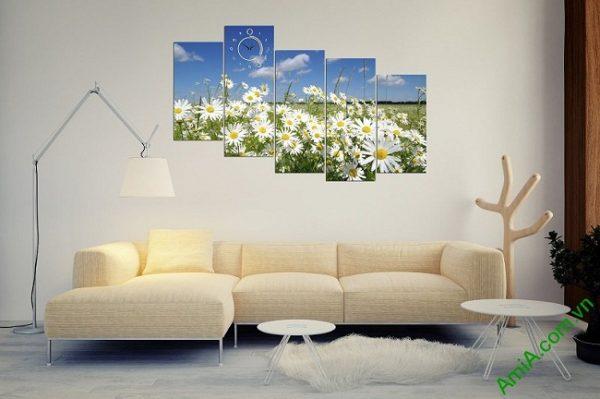 Tranh phong cảnh phòng khách hiện đại đồng cúc họa mi amia 381-03