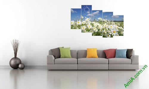 Tranh phong cảnh phòng khách hiện đại đồng cúc họa mi amia 381-04