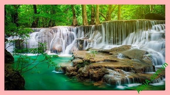 Tranh phong cảnh phòng khách khổ lớn Thác nước thiên nhiên