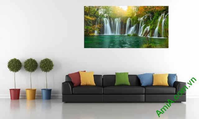 Tranh phong cảnh thác nước phòng khách khổ lớn amia 362-02