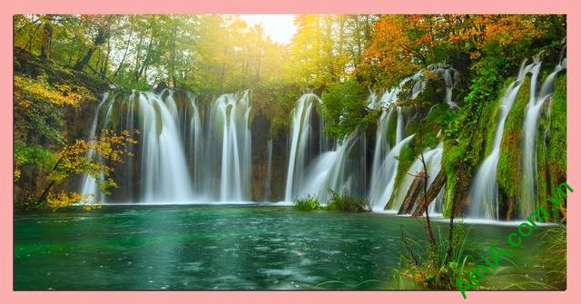 Tranh phong cảnh thác nước phòng khách khổ lớn amia 362