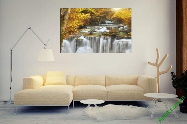 Tranh phong cảnh thác nước treo phòng khách một tấm amia 383-01