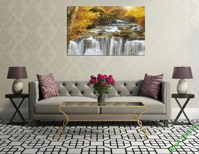 Tranh phong cảnh thác nước treo phòng khách một tấm amia 383-02