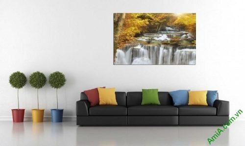 Tranh phong cảnh thác nước treo phòng khách một tấm amia 383-03