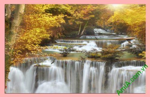 Tranh phong cảnh thác nước treo phòng khách một tấm amia 383