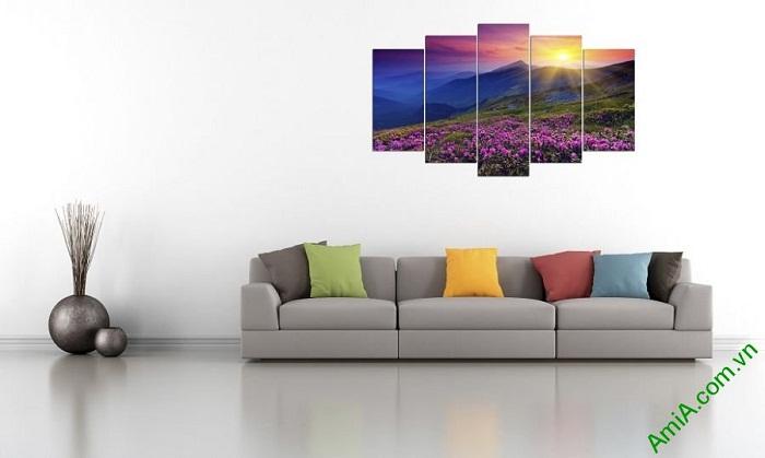 Tranh phong cảnh trang trí phòng khách đồi hoa nắng Amia 376