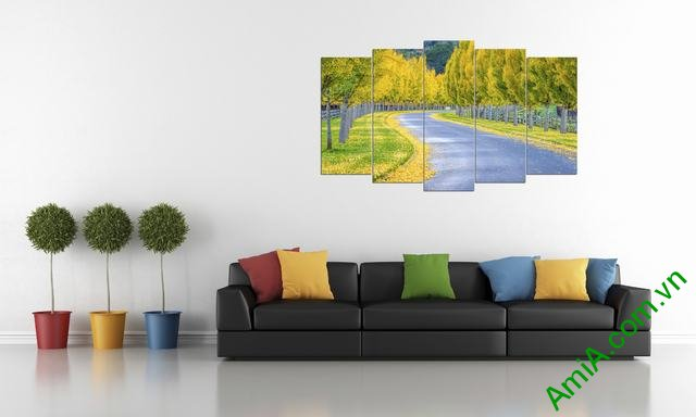 Tranh phong cảnh trang trí phòng khách mùa thu Amia 335-01