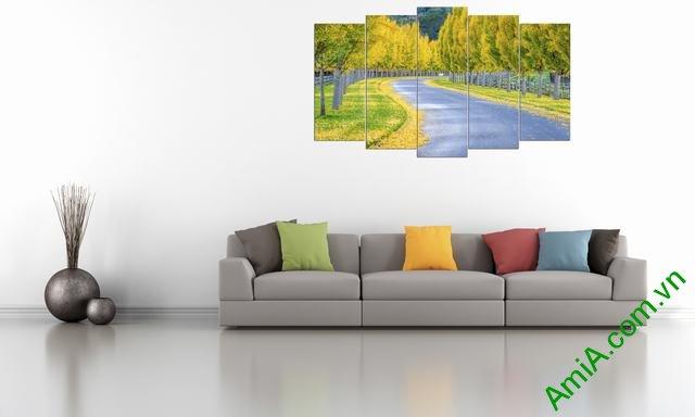 Tranh phong cảnh trang trí phòng khách mùa thu Amia 335-03