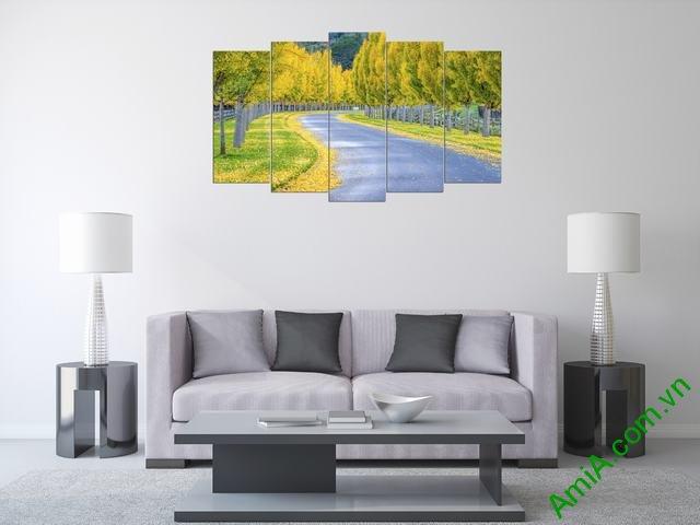 Tranh phong cảnh trang trí phòng khách mùa thu Amia 335-04