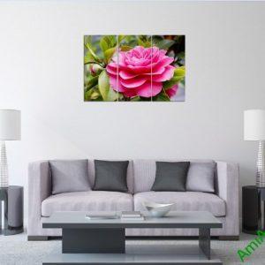 Tranh treo tường phòng khách hiện đại hoa Trà Amia 390-01