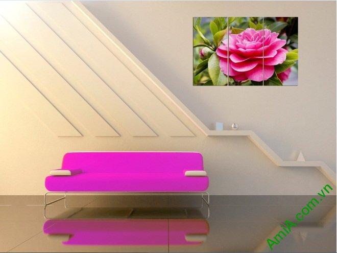 Tranh treo tường phòng khách hiện đại hoa Trà Amia 390-02