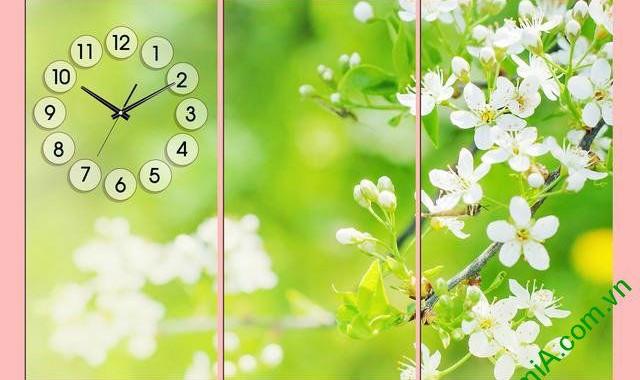 5 mẫu tranh đồng hồ hoa trang trí phòng khách ngày Tết