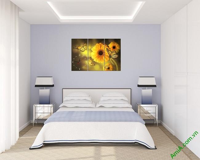 Đồng hồ tranh treo phòng khách, phòng ngủ hiện đại Amia 384-01