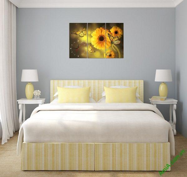 Đồng hồ tranh treo phòng khách, phòng ngủ hiện đại Amia 384-02