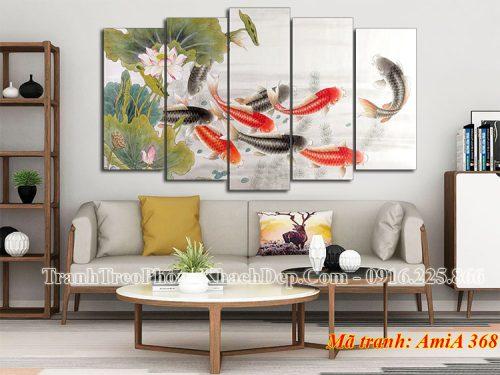 Tranh đẹp treo phòng khách cá chép hoa sen AmiA 368