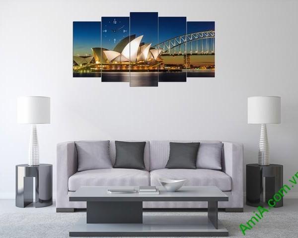 Tranh ghép phong cảnh phòng khách cầu Sydney Amia 356-01