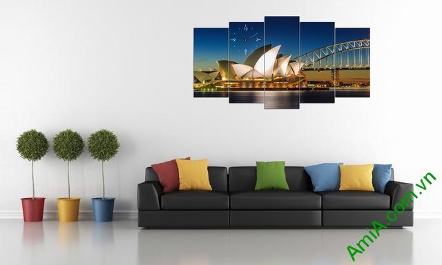Tranh ghép phong cảnh phòng khách cầu Sydney Amia 356-02