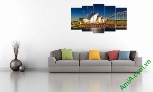 Tranh ghép phong cảnh phòng khách cầu Sydney Amia 356-03
