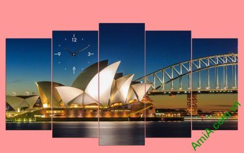 Tranh ghép phong cảnh phòng khách cầu Sydney Amia 356