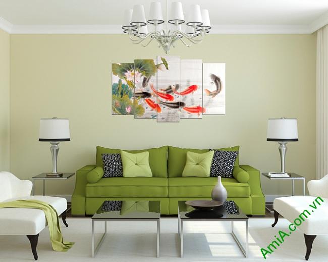 Tranh ghép phòng khách hiện đại Cửu Ngư Quần Hội Amia 368-02