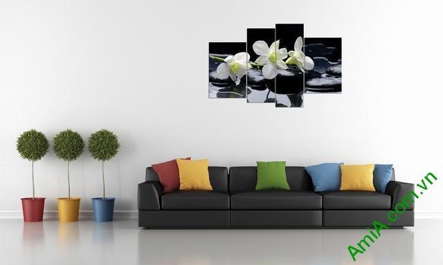 Tranh hoa Lan ghép bộ treo phòng khách amia 366-01