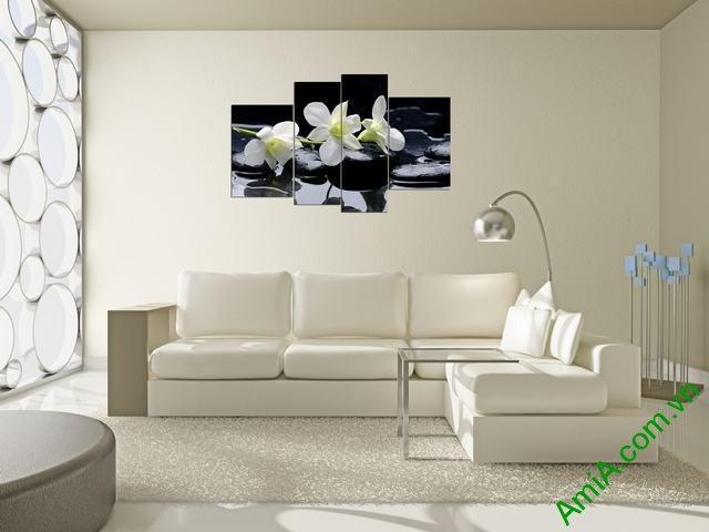 Tranh hoa Lan ghép bộ treo phòng khách amia 366-02