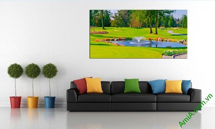 Tranh phong cảnh khổ lớn trang trí phòng khách một tấm Amia 395-01