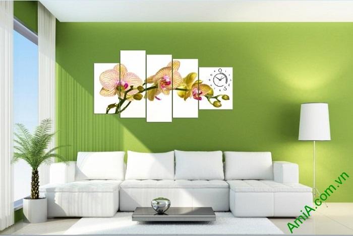 Hình ảnh tranh trang trí phòng khách hiện đại hoa lan hồ điệp