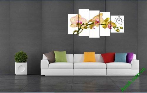 Tranh trang trí phòng khách hiện đại Lan Hồ Điệp Amia 394-03