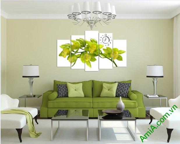 Tranh trang trí phòng khách hoa lan màu vàng chanh-01
