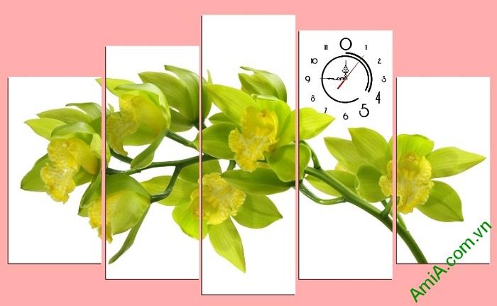 Tranh trang trí phòng khách hoa lan màu vàng chanh