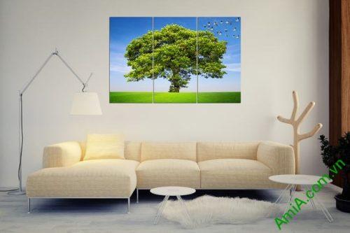 Tranh treo phòng khách thiên nhiên bộ 3 tấm Amia 358-01