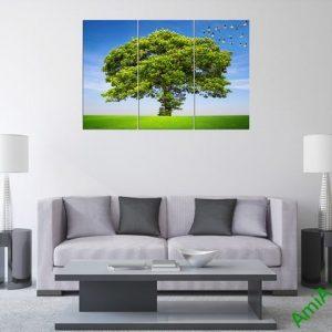 Tranh treo phòng khách thiên nhiên bộ 3 tấm Amia 358-02