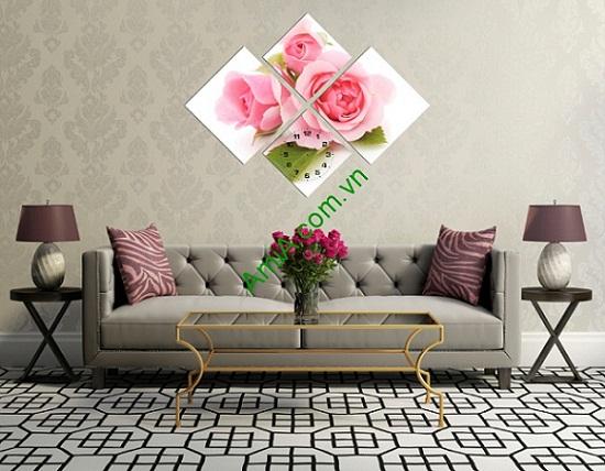 Bộ tranh đồng hồ ghép nghệ thuật hoa Hồng Amia 182-01