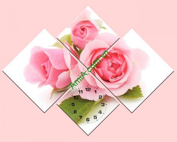Bộ tranh đồng hồ ghép nghệ thuật hoa Hồng Amia 182