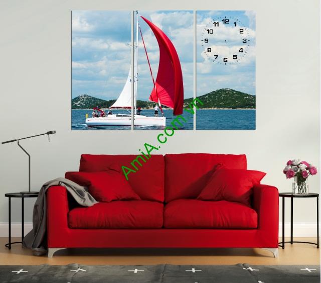 Bộ tranh đồng hồ trang trí Cánh Buồm Đỏ Amia 233-01